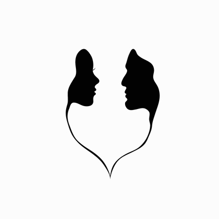 Illustration for A man and a woman  Black and white silhouette of lovers   - Royalty Free Image