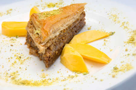 Baklava With Mango and a Pistachio Dusting