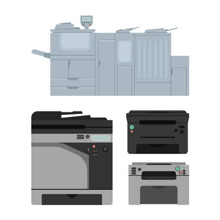 Set of color laser printer in vector. Digital print machine design. Color copy and printing equipment. Office hardware collection.