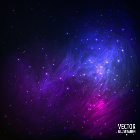 Illustration pour Colorful Space Galaxy Background with Light, Shining Stars, Stardust and Nebula. Vector Illustration for artwork, party flyers, posters, banners. - image libre de droit