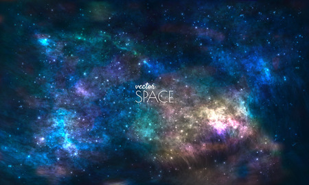 Illustration pour Space Galaxy Background with nebula, stardust and bright shining stars. Vector illustration for your design, artworks - image libre de droit