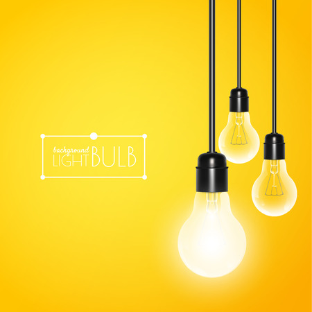Hanging light bulbs with glowing one on a yellow background. Vector illustration for your design.