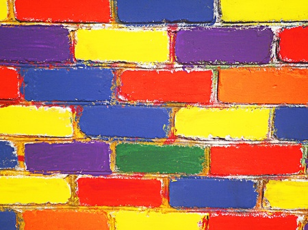Brick wall painted children
