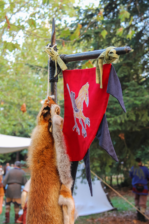 Spilamberto, Italy- October 02, 2016: Vintage style spears of historic party in park