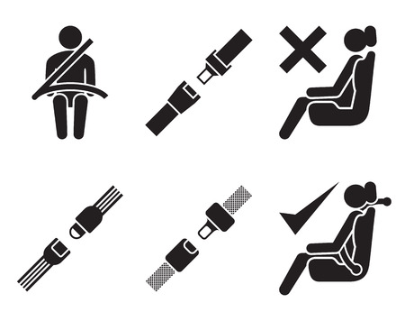seat belt icons: set of elements for design, black on white background