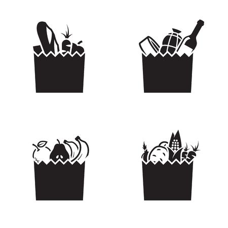 Illustration pour Grocerie bag icons. Black on a white background - image libre de droit