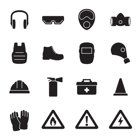 Illustration pour Work safety, protection equipment icons set. Black on a white background - image libre de droit