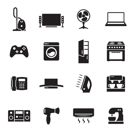 House appliance, home appliance icons set. Black on a white background