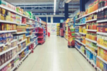 Foto für Supermarket blurred interior abstract background with bokeh - Lizenzfreies Bild