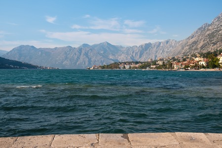 Photo for Overlooking panoramic view of Kotor bay seafront. Blue sea and mountains at summer. Kotor bay. Montenegro - Royalty Free Image