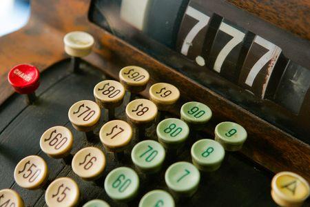 Close up of keys on an old cash register
