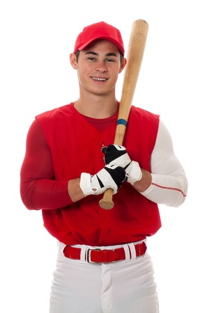 Baseball player with bat. Studio shot over white.の写真素材