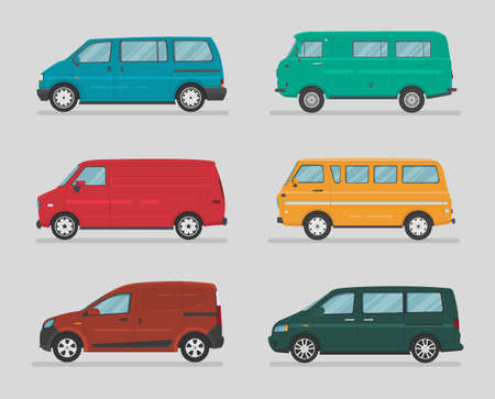 Photo pour Urban vehicles. Set of different types of vector cars: sedan, hatchback, wagon, minivan, suv, crossover. Cartoon flat illustration. Auto for graphic and web design. - image libre de droit