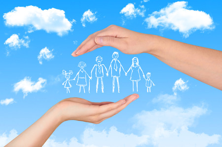 Photo pour Family life insurance, protecting family, family concepts. - image libre de droit