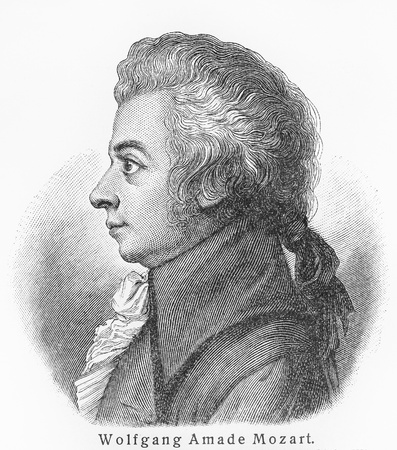 Wolfgang Amadeus Mozart - Picture from Meyers Lexicon books written in German language. Collection of 21 volumes published between 1905 and 1909.