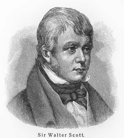 Sir Walter Scott - Picture from Meyers Lexicon books written in German language. Collection of 21 volumes published between 1905 and 1909.