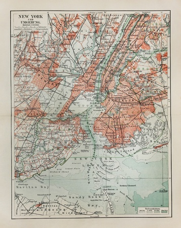 Foto de New York old map from the end of 19th century - Imagen libre de derechos