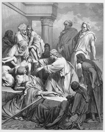 Jesus healing in the land of Gennesaret - Picture from The Holy Scriptures, Old and New Testaments books collection published in 1885, Stuttgart-Germany. Drawings by Gustave Dore.