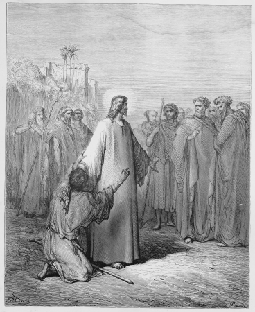 Jesus healing the demoniac boy - Picture from The Holy Scriptures, Old and New Testaments books collection published in 1885, Stuttgart-Germany. Drawings by Gustave Dore.