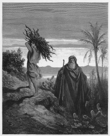 The testing of Abraham's faith - Picture from The Holy Scriptures, Old and New Testaments books collection published in 1885, Stuttgart-Germany. Drawings by Gustave Dore.