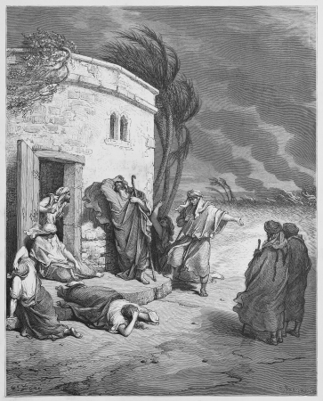 Job hearing of his ruin - Picture from The Holy Scriptures, Old and New Testaments books collection published in 1885, Stuttgart-Germany. Drawings by Gustave Dore.