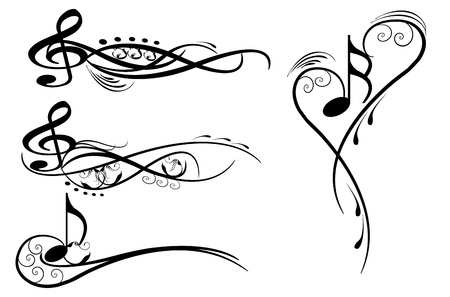 music notes wirh floral elementes