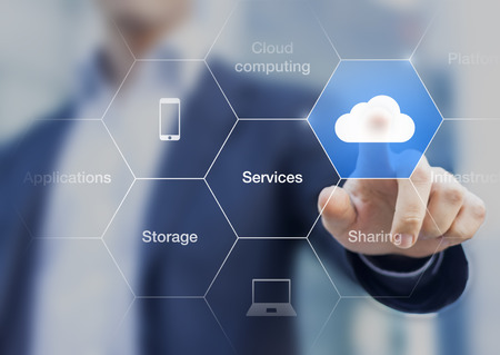 Photo pour Concept about cloud computing, applications, storage, and services with a businessman touching a button on virtual screen - image libre de droit