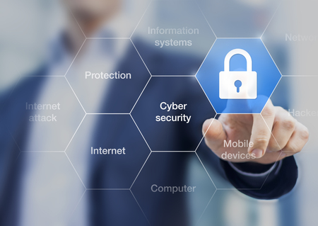 Photo for Cyber security concept on virtual screen with a consultant doing presentation in the background - Royalty Free Image