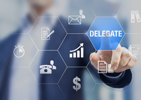 Concept about delegating tasks or work to assistant or subcontractor to save time and increase efficiency and profit