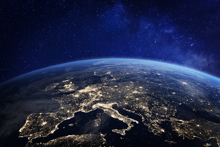 Europe at night viewed from space with city lights showing human activity in Germany, France, Spain, Italy and other countries, 3d rendering of planet