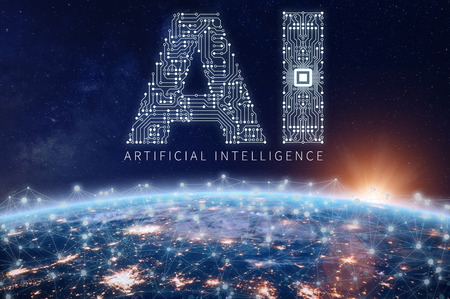 Artificial Intelligence technology concept with text AI made of electronic circuit board with microchip above planet Earth with connected network, data exchange and computing