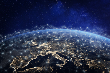 Foto de European telecommunication network connected over Europe, France, Germany, UK, Italy, concept about internet and global communication technology for finance, blockchain or IoT, elements from - Imagen libre de derechos