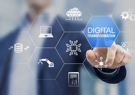 Foto de Digital transformation technology strategy, digitization and digitalization of business processes and data, optimize and automate operations, customer service management, internet and cloud computing - Imagen libre de derechos