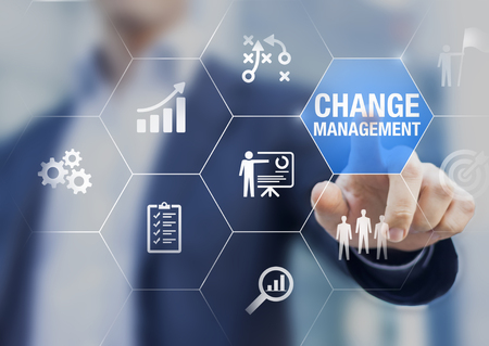 Photo pour Change management in organization and business concept with consultant presenting icons of strategy, plan, implementation, communication, team, success. Organizational transition and transformation - image libre de droit