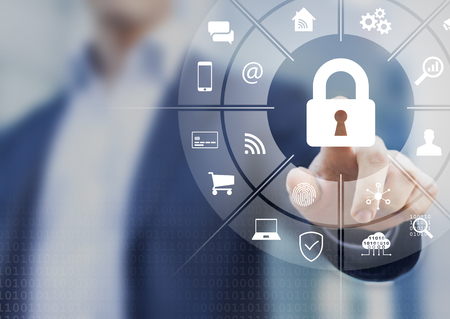 Photo pour Cybersecurity on internet with person touching interface with icons of wireless network connection access on mobile, online payment, smartphone app, smart home, IoT, protect data against cyber crime - image libre de droit