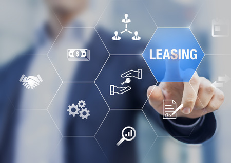 Photo pour Leasing business concept with icons about contract agreement between lessee and lessor over the rent of an asset as car, vehicle, land, real estate or equipment, or buy, professional businessman - image libre de droit