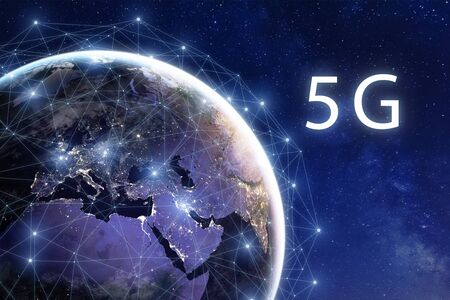 Photo pour 5G wireless mobile internet telecommunication network deployment in the world, high speed data communication technology, global connection around planet Earth with city lights viewed from space - image libre de droit