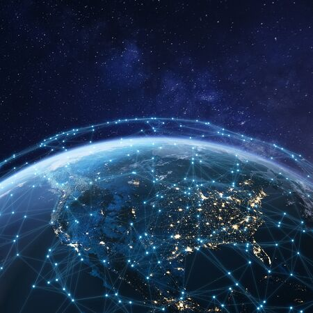 Photo pour Telecommunication network above North America from space by night with city lights in USA, Canada and Mexico, satellite orbiting Planet Earth for Internet of Things IoT and blockchain technology - image libre de droit