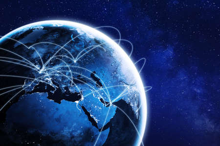 Photo pour Connections around planet Earth viewed from space at night, cities connected around the globe by shiny lines, international travel or global business finance, world connectivity, elements from NASA - image libre de droit