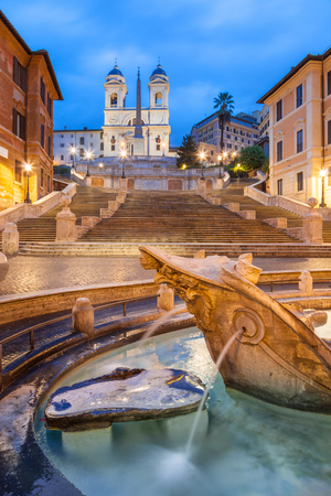 Spanish Steps at Trinita dei Monti at dawn, Rome, Italy, Europe. Rome spanish Steps is one of the best known landmarks of Rome and Italy