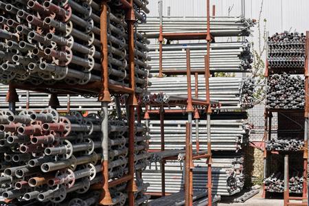Photo pour Ring lock scaffolding, construction equipment - image libre de droit