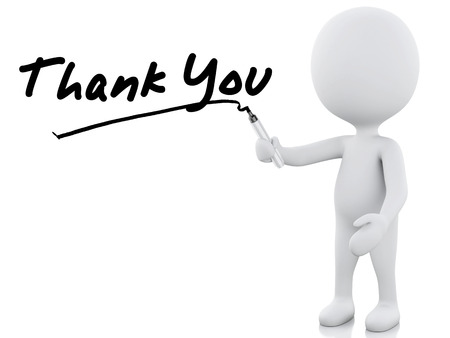 thank you words written by white people. 3d image. Isolated white background