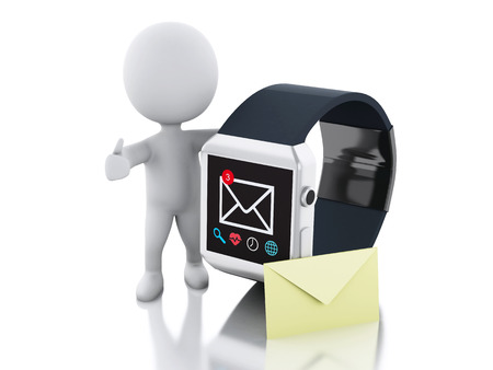 3d image renderer. White people and Digital smart watch with unread message icon. Technology concept. Isolated white background