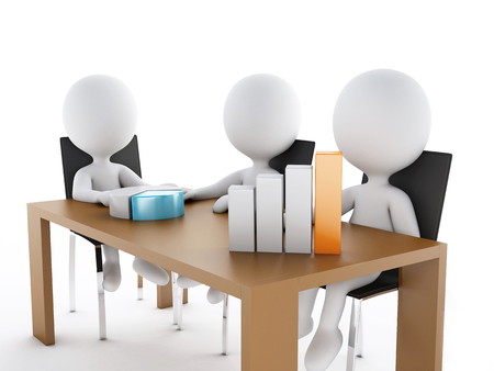 3d renderer image. Business people in a Office meeting room. Business partners on white background