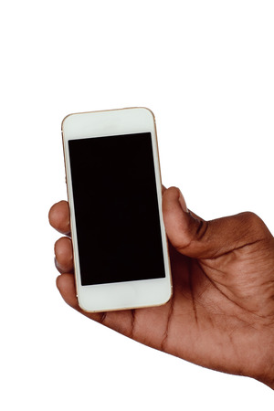 Photo pour Male hand holding smartphone with blank screen. Isolated on white background. - image libre de droit