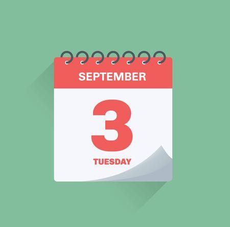 Illustration pour Vector illustration. Day calendar with date September 3. - image libre de droit