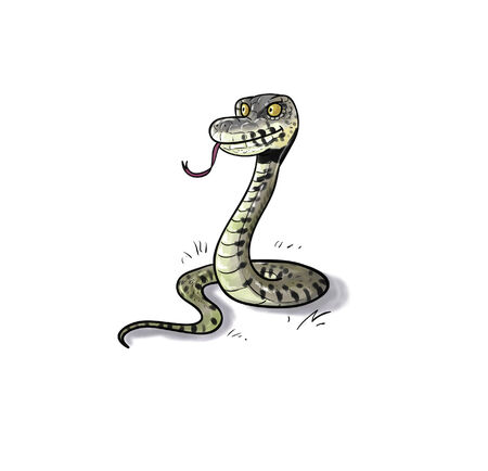 Toon digital illustration of a water or grass snake