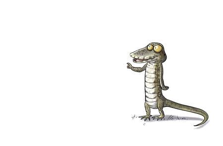 Digital toon  illustration of a lizard isolated