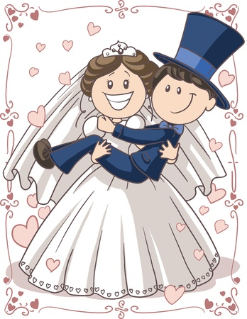 Wedding Invitation Couple - Vector cartoon of bride and groom in a funny pose
