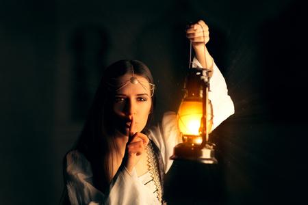 Medieval Princess Holding Lantern and Keeping a Secret